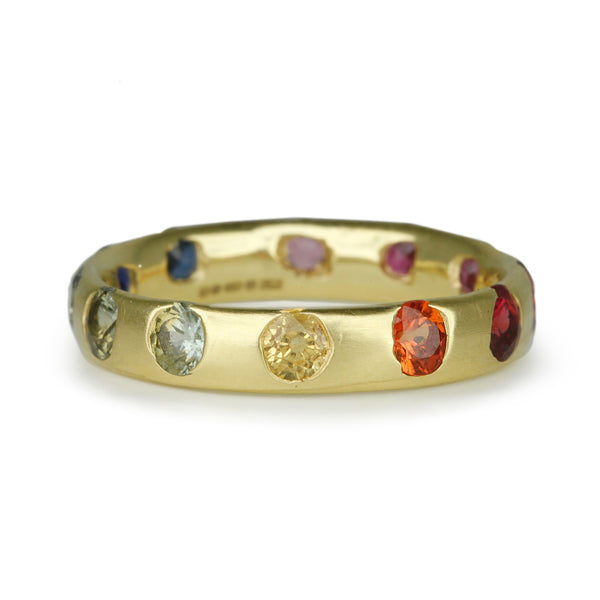 Polly Wales 18 Karat Yellow Gold Narrow Crystal Ring with Round Ombre Rainbow Sapphires