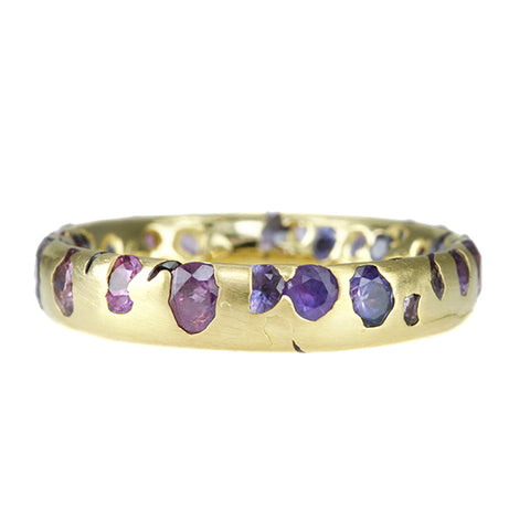 "Gold and Ombre Purple Sapphire Narrow ""Confetti"" Ring"