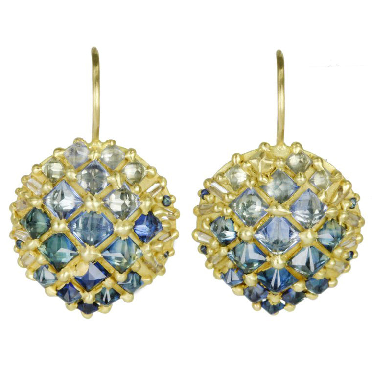 "Gold ""Snap Dragon"" Earrings with Ombre Blue and White Saphires"