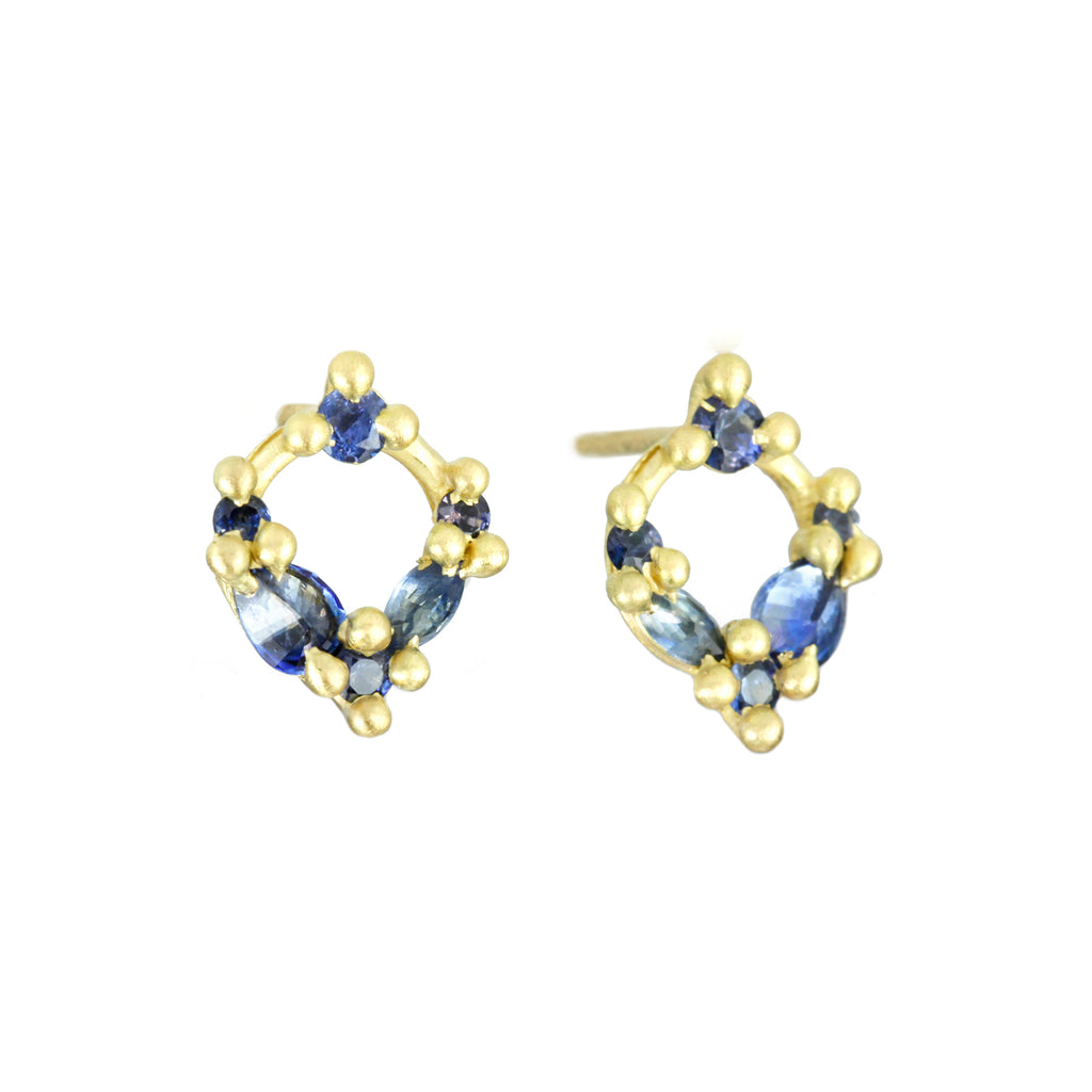 "Polly Wales Gold and Blue Sapphire ""Des Gouttes de Rosee"" Open Circle Stud Earring"
