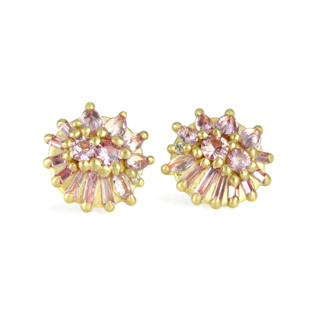 "Gold and Light Pink Sapphire ""Lotus Dome"" Stud Earrings"