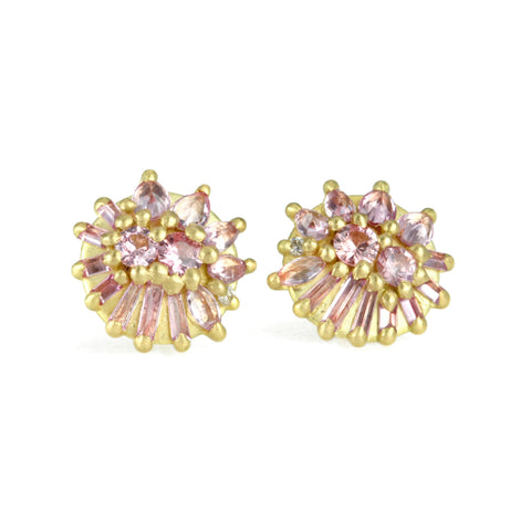 "Polly Wales Gold and Light Pink Sapphire ""Lotus Dome"" Stud Earrings"