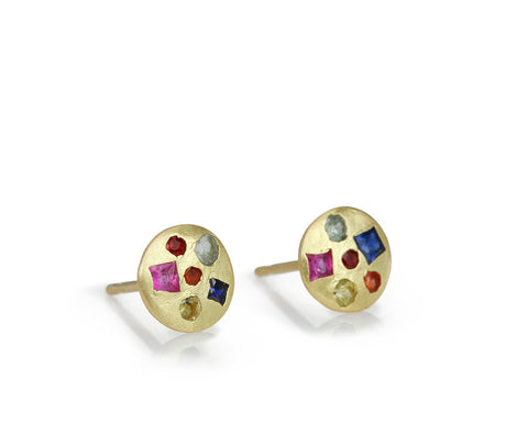 "Gold and Mixed Sapphire Small ""Crystal"" Disc Stud Earrings"