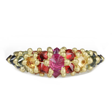 "Polly Wales Gold ""Galaxy"" Ring with Rainbow Sapphires"