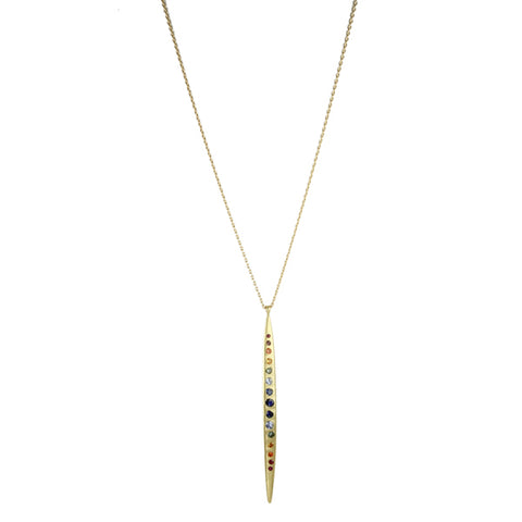 18K Yellow Gold, Rainbow Sappire Long Quill Necklace