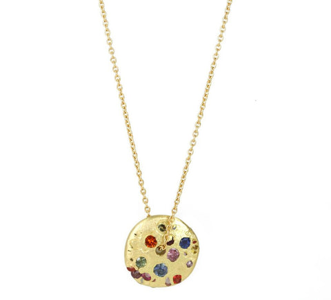 "Gold and Rainbow Sapphire ""Celeste"" Spinning Disc Necklace"