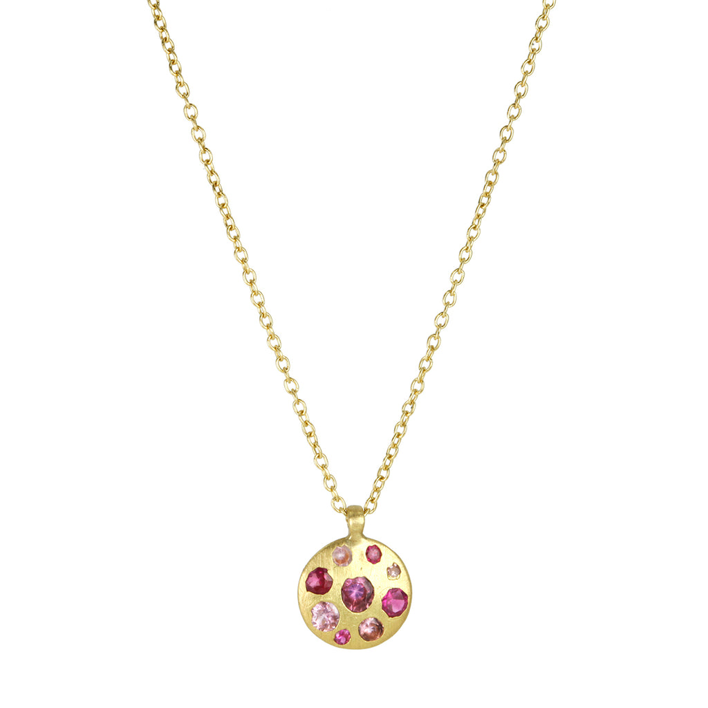 "Gold and Ombre Pink Sapphire Medium ""Celeste"" Necklace"