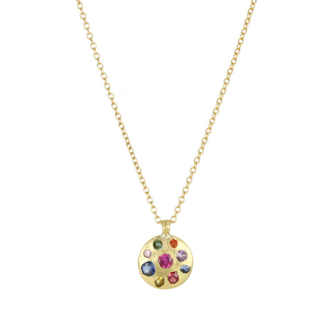 "Gold and Rainbow Sapphire Medium ""Celeste"" Necklace"