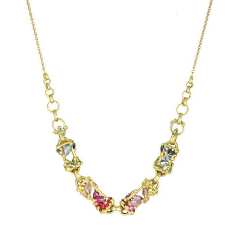 "Polly Wales 18 Karat Yellow Gold ""La Fontaine"" Necklace with Rainbow Sapphire Encrusted Front Bar Chain Links (4.4 tcw)."