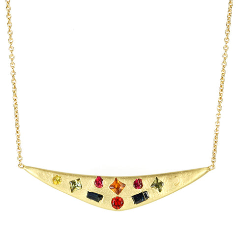 "Gold and Rainbow Mixed-Cut Sapphire ""Swallows Dive"" Necklace"