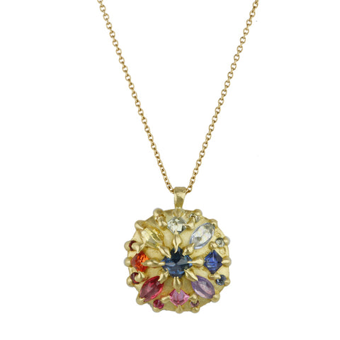Polly Wales 18 Karat Yellow Gold Ourika Small Pinched Dome Pendant with Rainbow Fade Inverted Marquis and Princess-Cut Sapphires