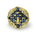 "Gold and Blue Sapphire ""Shield"" Ring with Diamonds"