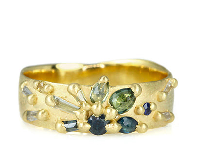 "Gold Wide Pinched ""Lotus"" Ring with ""Ocean Fade"" Sapphires"
