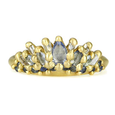 Gold and Blue Sapphire Petal Ring
