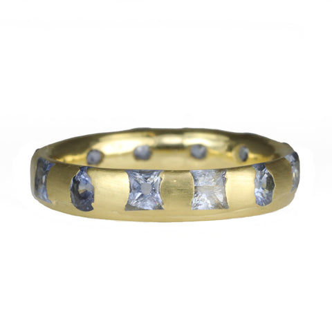"Gold Narrow Mixed-Cut Blue Sapphire ""Celeste"" Ring"