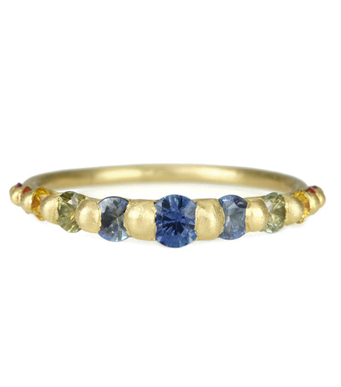 "Gold and Rainbow Sapphire ""Iris"" Halo Ring"