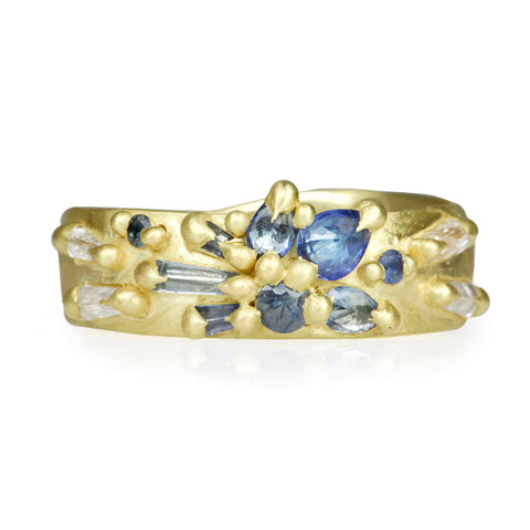 "Blue Sapphire ""Lotus"" Ring with Diamonds"