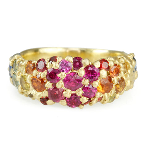 "Gold and Rainbow Sapphire ""River"" Ring"