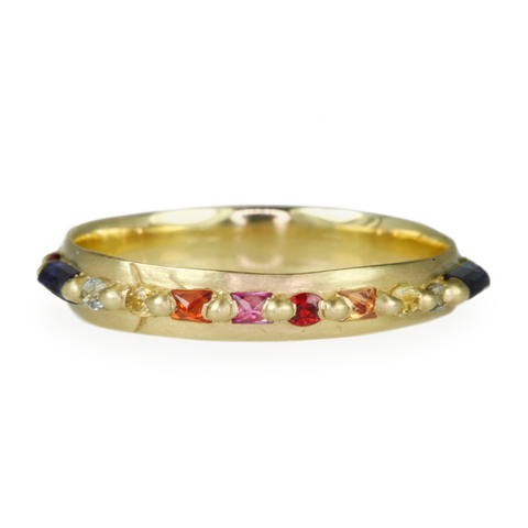 "Polly Wales Gold and Rainbow Sapphire ""Pinched"" Ring"