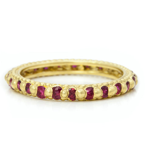 Polly Wales 18 Karat Yellow Gold Rapunzel Ring with Round Cut Rubies