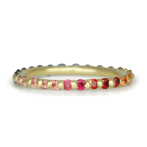 "Gold Single ""Rapunzel"" Ring with Rainbow Sapphires"