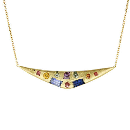 Swallows Dive Necklace with Harlequin Sapphires