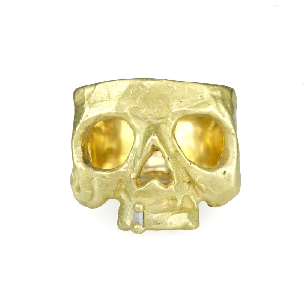 "Gold and Diamond ""Snaggletooth"" Skull Ring"