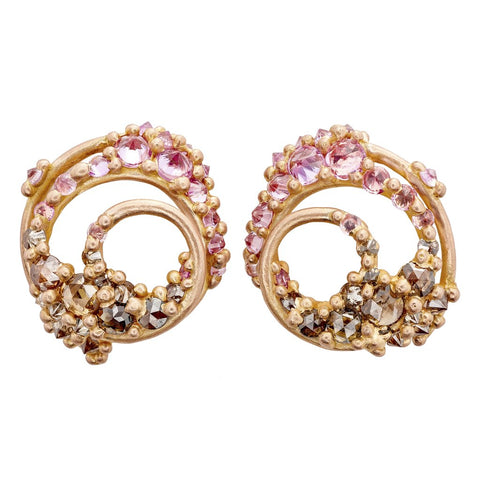 "Rose Gold Spun ""Ursa"" Studs with Pink and Brown Diamonds"