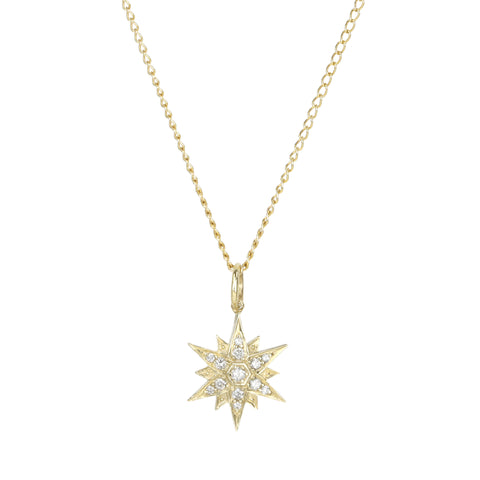 "Zahava 10K Gold & Pave Diamond ""North Star"" Necklace"