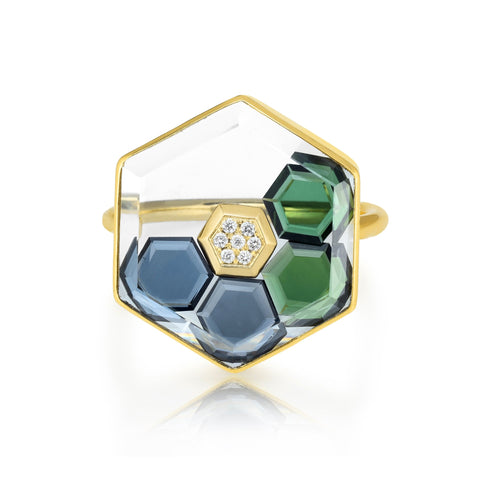 "Moritz Glik Rose Gold Hexagonal Ring with Blue & Green Sapphires and Pave Diamond ""Shake"""