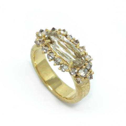 TAP by Todd Pownell Gold East-West Champagne Oval Diamond Ring