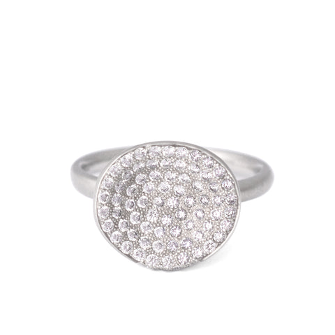 "Anne Sportun White Gold Concave ""Petal"" Ring with Pave Diamonds"