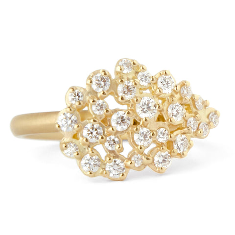 "Anne SportunGold and Diamond ""Festival"" Ring with Teardrop Shaped Cluster"