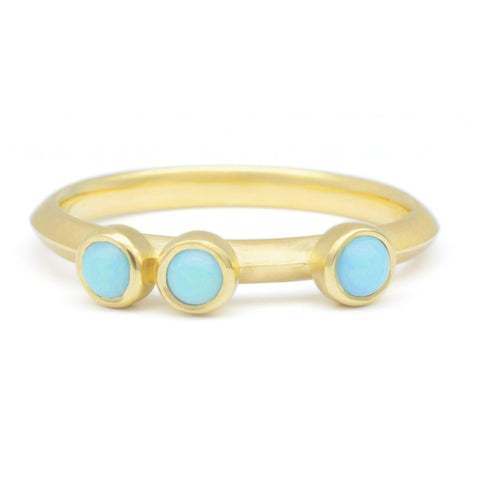 "Asymmetrical Triple Bezel-Set Turquoise Ring with ""Knife Edge"""
