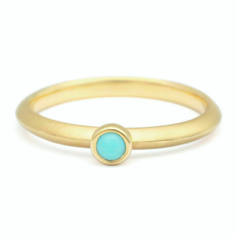 "Gold ""Knife Edge"" Ring with Single Bezel-Set Turquoise"