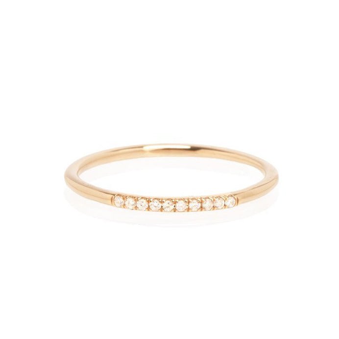 "Zoe Chicco Gold ""Round Band"" Ring with 10 Pave Diamonds"