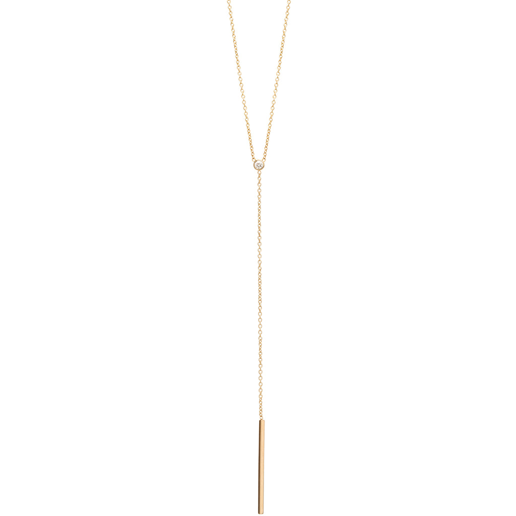 Zoe Chicco Single Bar Lariat Necklace with Diamond