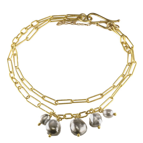 Rosanne Pugliese 22K Gold Double Chain Bracelet with Five Keshi Pearl Drops