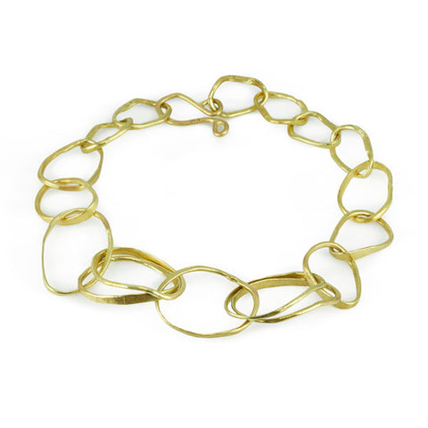 "Rosanne Pugliese Hammered Gold ""Double Pebble"" Bracelet"
