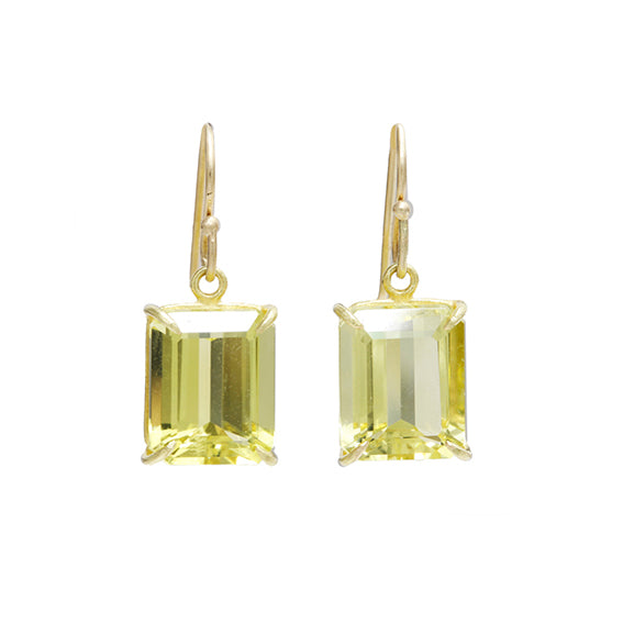 Lemon Citrine Emerald Cut Earrings