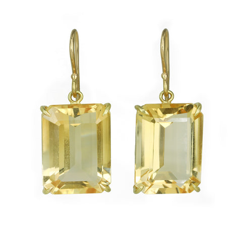 Rosanne Pugliese Large Emerald Cut Champagne Citrine Drop Earrings