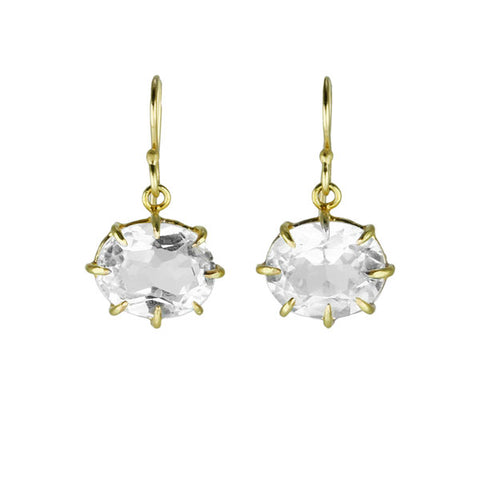 Oval Faceted White Topaz Earrings