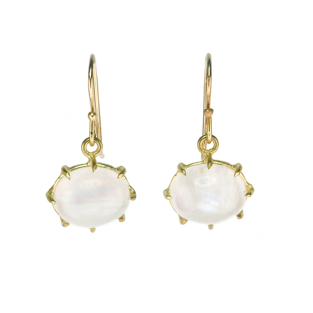 Gold Oval Prong-Set Smooth Rainbow Moonstone Earrings