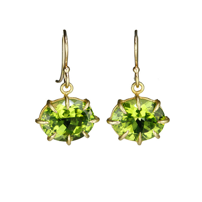 Oval Faceted Peridot Earrings