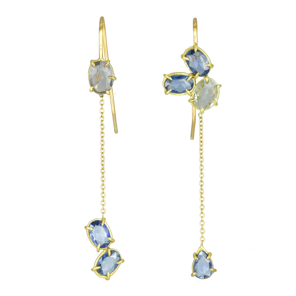 Asymmetrical Prong-set Blue Sapphire Drop Earrings