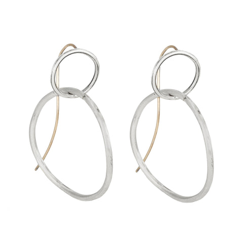 "Sterling Silver ""Fluid Double Circle"" Earrings"
