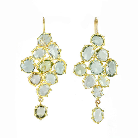 Prong-Set Pale Green Tourmaline Cluster Earrings