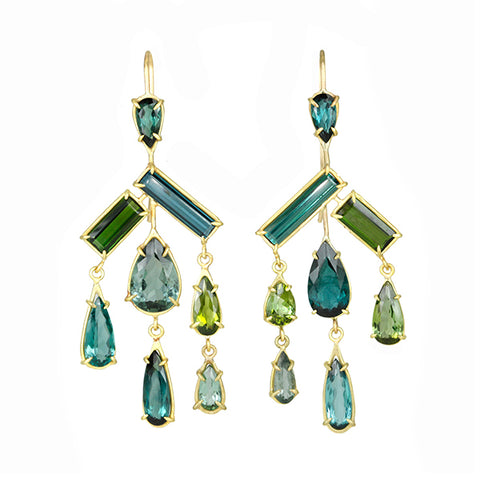 Green and Blue Tourmaline Mixed-Cut Chandelier Earrings