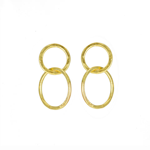 Gold Small Double Hoop Post Earrings