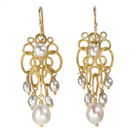 Rosanne Pugliese 22K Gold Cluster Earrings with Keshi Pearl Drops